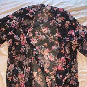 Deb Black Floral Sheer Open Kimono Cardigan